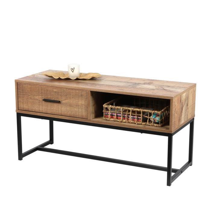Table basse Riverside - 1 tiroir - Largeur 100 cm - Métal et Bois