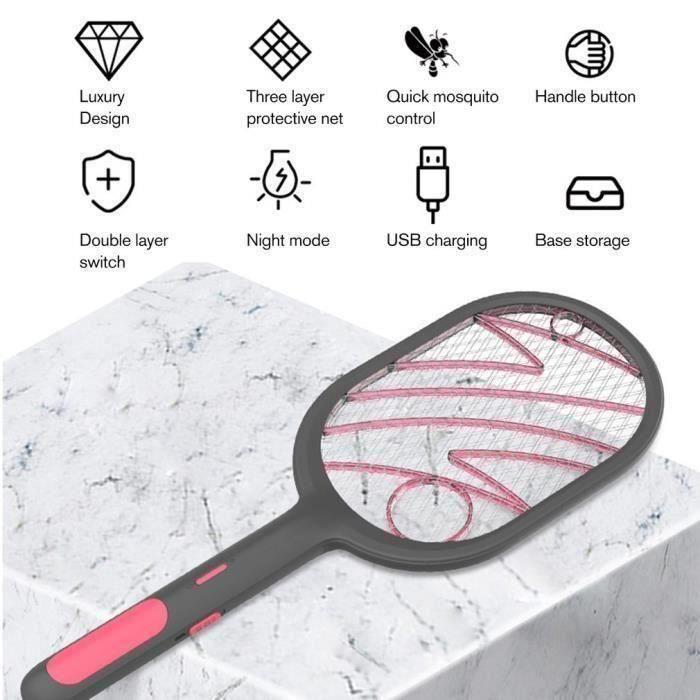 multifonctionnel choc électrique type moustique lampe bug mouche zapper Noir