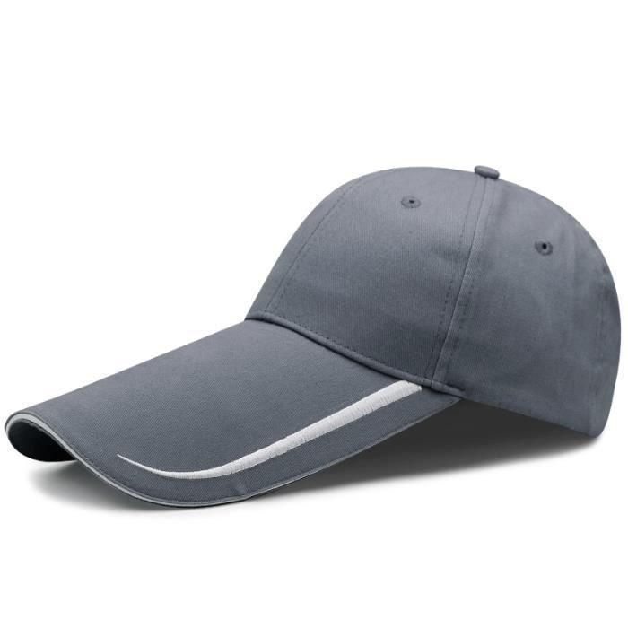 14cm gray blue 55-60cm -Casquette de Baseball à visière longue pour homme, chapeau de pêche, grande taille, décontracté, Cool, 55 60
