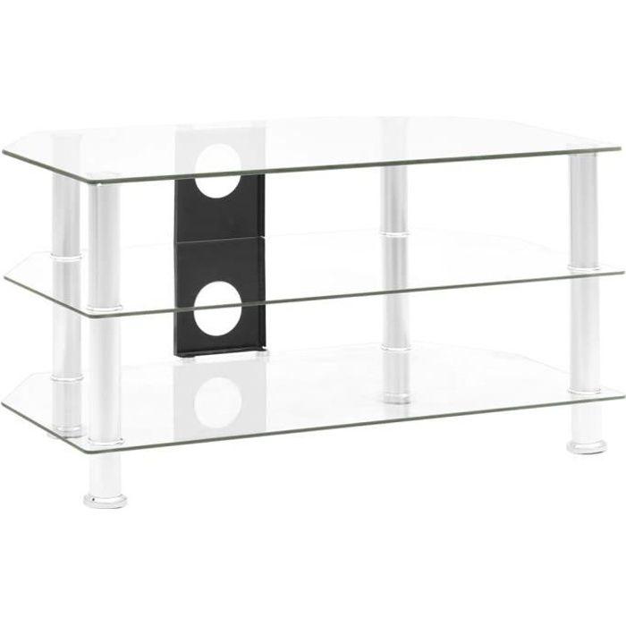 Meuble TV MEUBLE HIFI BANC TV Transparent 75x40x40 cm Verre trempé☼47163
