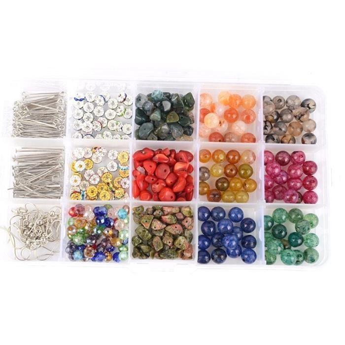 Kit de Bracelet perlé bricolage en pierre naturelle perles perles entretoises et boîte de perles