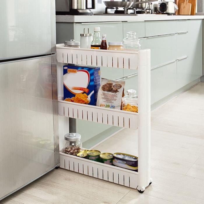 Etagère De Rangement Resserre A Roulettes 3 Etages Spécial Petits Espace Produits Ménager  cuisine salle de bains Blanc