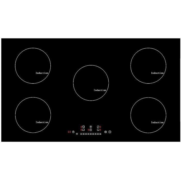 Plaque à Induction 9300W intégrable 5 foyers de cuisson avec Booster Table à Induction Table de cuisson électrique 90cm en verre tou