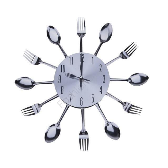 L803 Élégant Cool Design moderne Horloge murale Argent coutellerie de cuisine Ustensile Vintage Design Horloge murale fourchette c