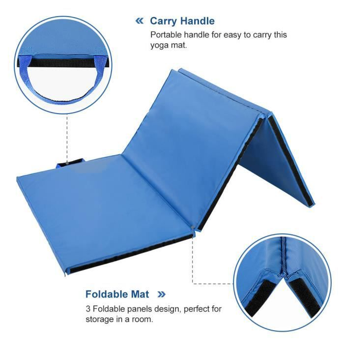 Dioche Tapis d'exercice Pliable 180*90*4CM Tapis d'exercice Épais Pliable Tapis de Gymnastique Tapis de Yoga (Bleu)