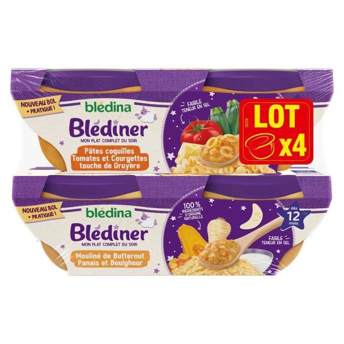 Blédina Blediner - Pâtes Coquilles : Tomates, courgettes gruyère - Mouliné de Butternut Panais - Dès 12 mois - 4 x 200 g