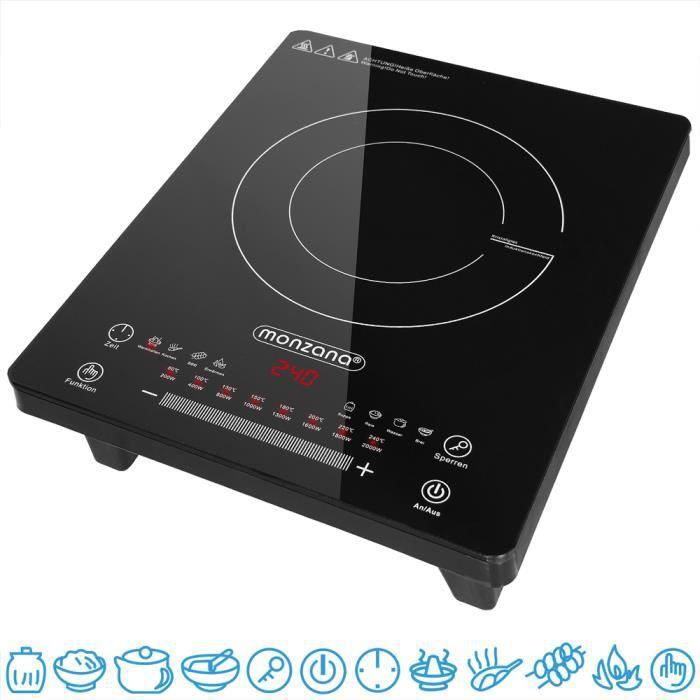 Plaque à induction 2000W, 8 programmes plaque chauffante cuisson écran tactile
