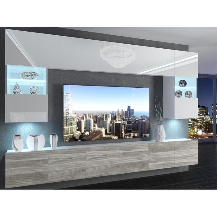 PRINS - Ensemble meubles TV + LED - Unité murale - Largeur 300 cm - Mur TV à suspendre - Blanc + aspect bois