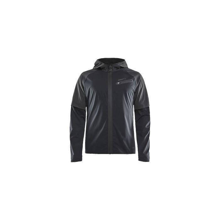 Veste à capuche Running CRAFT Homme Zippée Lumen Hydro Jacket Noir AH 2019