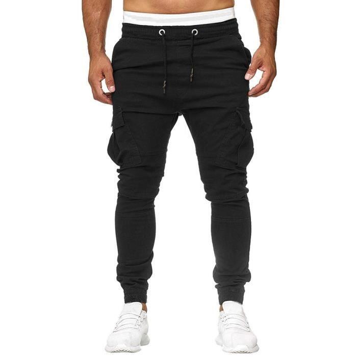 Pantalons de survêtement pour hommes Pantalons Joggings élastiques décontractés Pantalons de sport solides avec poches amplesNoir
