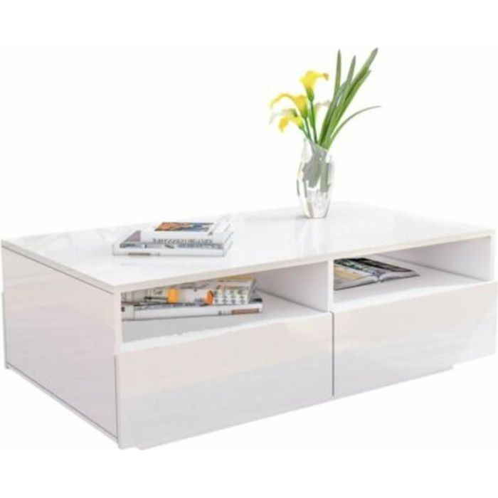 ZHI Bonne TABLE BASSE Blanche Brillante à 4 Tiroirs Design Moderne pour Salon