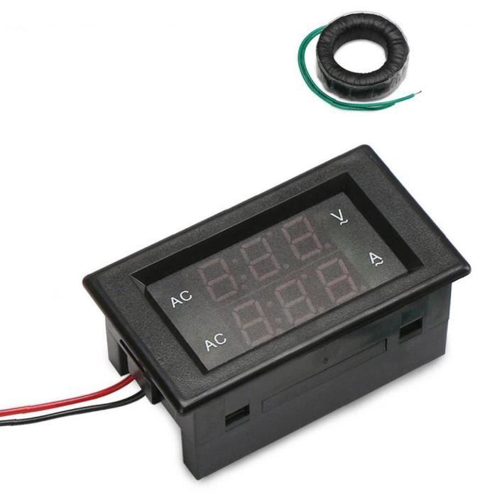 Multimètre numérique Voltmètre AC130-500V 220A DÉTECTEUR DE DOUBLE DE PANNEAU DOUBLE DE LED Noir Outils électriques