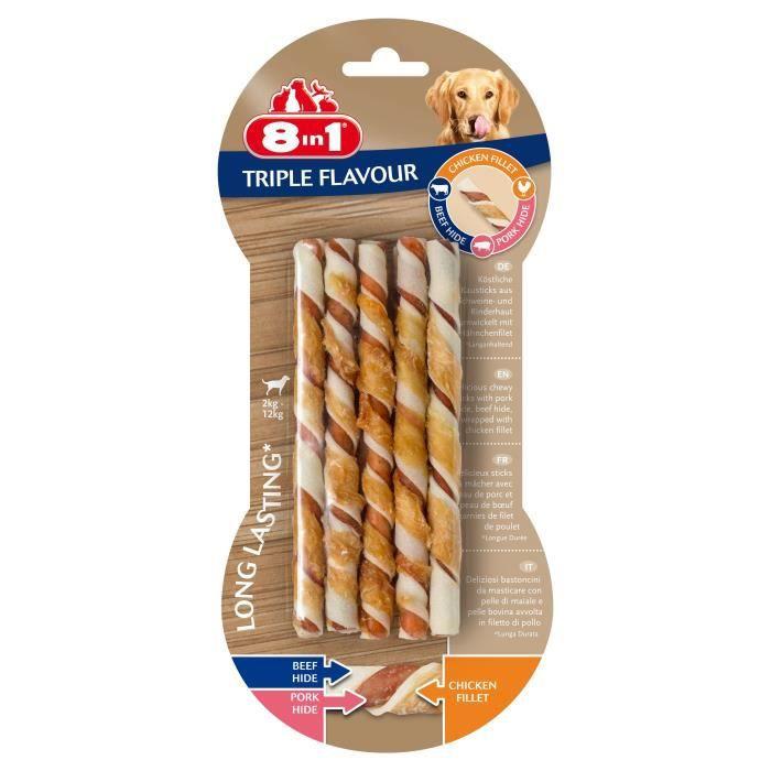 8in1 Triple Flavour Sticks à mâcher Premium aux Bœuf, Porc, Poulet - Pour chien de petite taille - 10 pièces