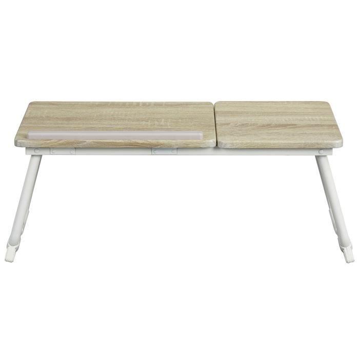 Tablette de lit pliable MAMIE BEECH - Structure en métal - Coloris hêtre et blanc
