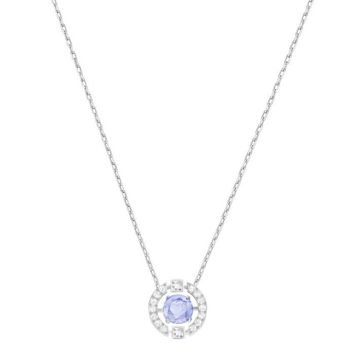 Swarovski Collier Sparkling Dance Round, bleu, métal rhodié