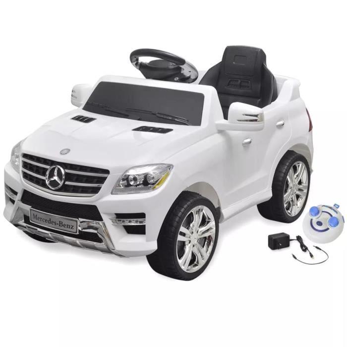 Voiture électrique 6 V avec télécommande Mercedes Benz ML350 blanche cadeau pour enfant