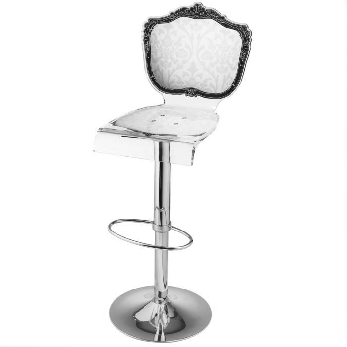 acrila tabouret de bar baroque pied m tallique blanc achat vente tabouret de bar blanc. Black Bedroom Furniture Sets. Home Design Ideas