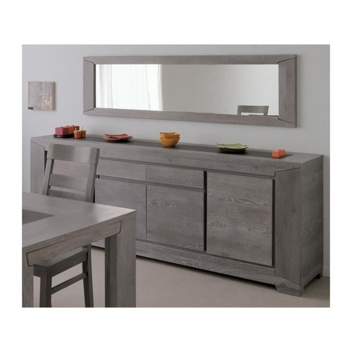 buffet 4 portes avec miroir pour s jour bruges ch ne gris. Black Bedroom Furniture Sets. Home Design Ideas