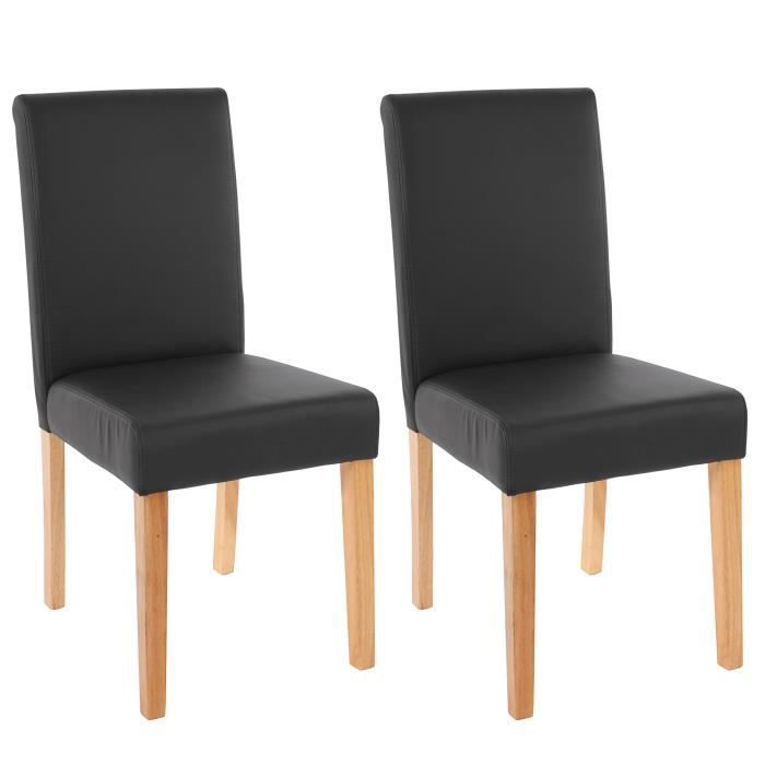 2 chaises de salle manger similicuir noir mat achat vente chaise bois plastique cuir. Black Bedroom Furniture Sets. Home Design Ideas