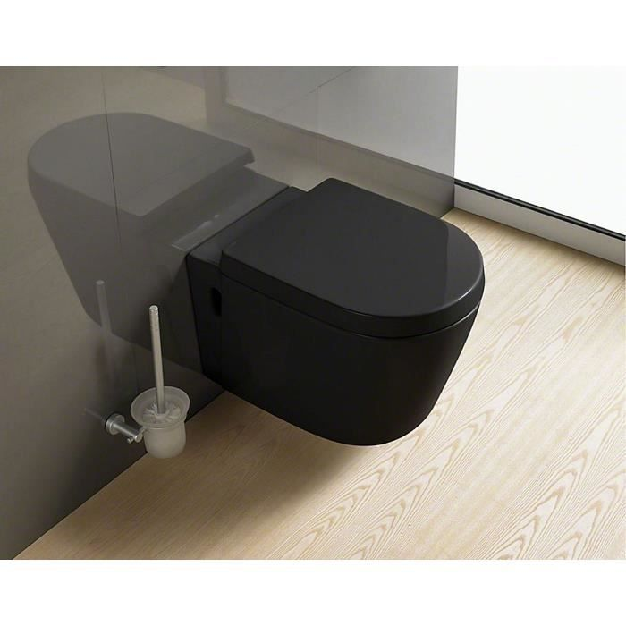 wc suspendu noir en c ramique avec abattant achat vente wc toilettes wc suspendu noir en. Black Bedroom Furniture Sets. Home Design Ideas