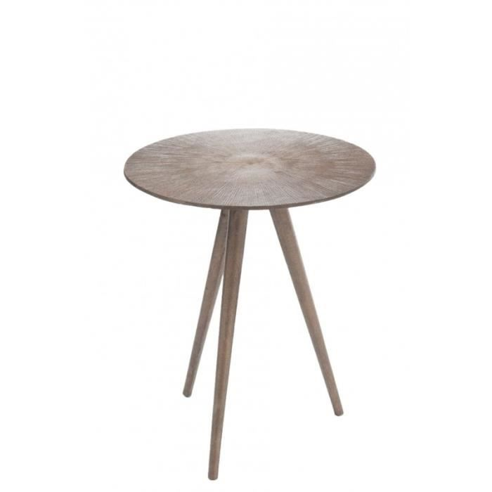 Table gigogne rond 3 pieds alu or 36x42cm or achat for Table 3 pieds