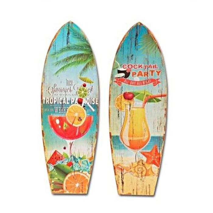 Surf lot de 2 bois neuf cocktail party d co murale 60cm ambiance plage acha - Planche de surf de decoration ...