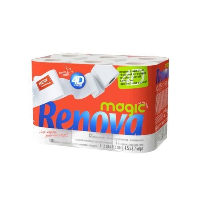 PAPIER TOILETTE RENOVA Papiers toilette 4D Magic - Lot de 3 x 12