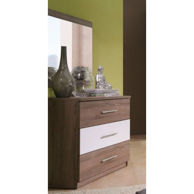 commode 3 tiroirs cali avec miroir marron achat vente commode semainier commode cali. Black Bedroom Furniture Sets. Home Design Ideas