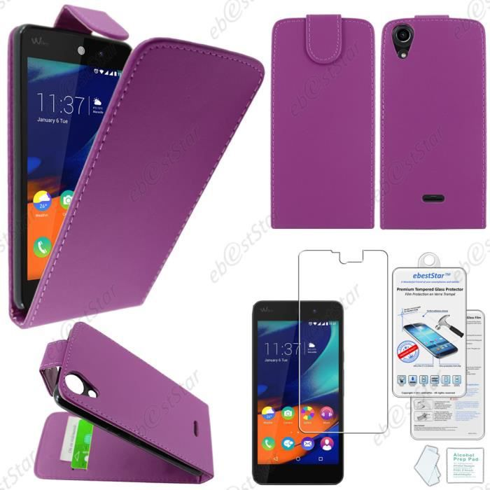 Ebeststar housse clapet wiko rainbow lite 4g violet film for Housse wiko upulse lite