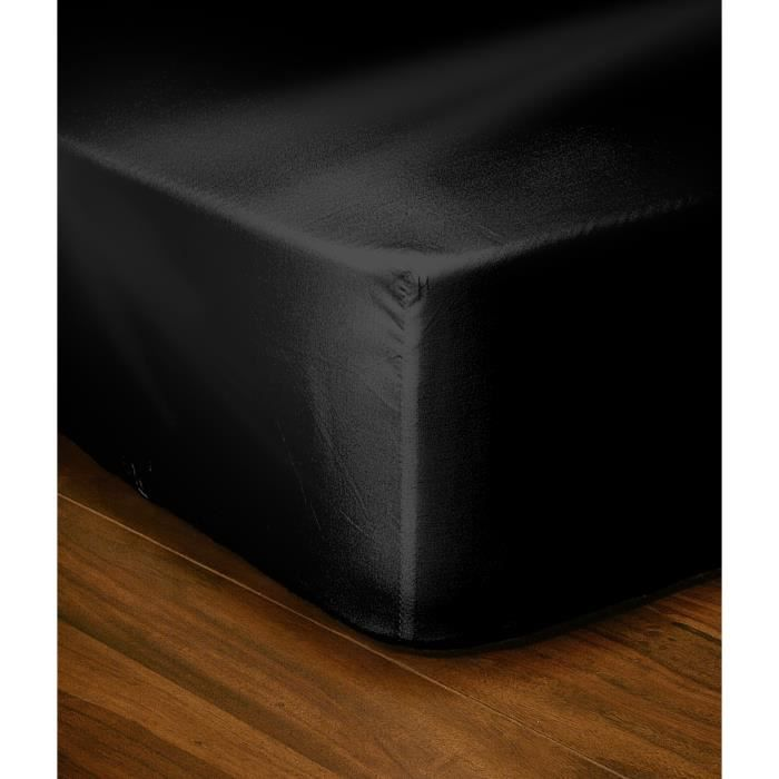 lovely home drap housse 180x200 25 noir achat vente drap housse cdiscount. Black Bedroom Furniture Sets. Home Design Ideas