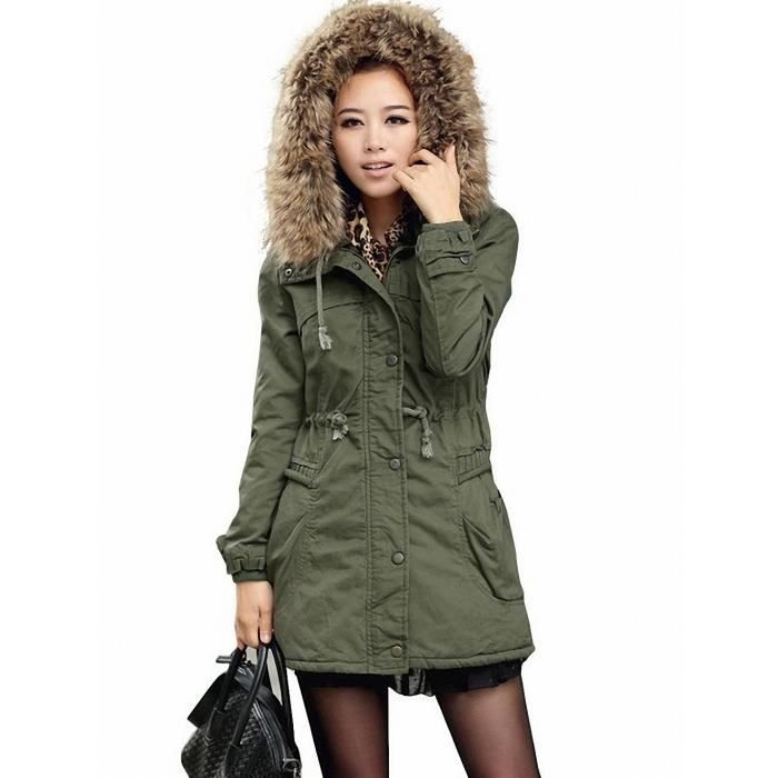 manteau femme parka hiver fourrure avec capuche verte. Black Bedroom Furniture Sets. Home Design Ideas