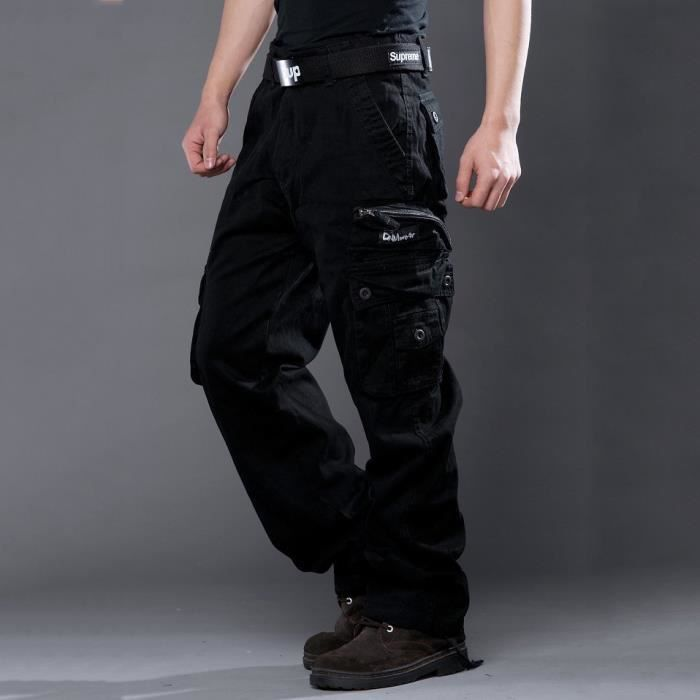 cargo pantalon homme noir coton pantalon cargo pour homme vert arm e kaki noir achat vente. Black Bedroom Furniture Sets. Home Design Ideas