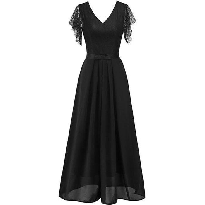 Longue Robe Noire De Soiree Effet Ceinture Manches Et Dos En Dentelle Transparente Noir Achat Vente Robe Cdiscount