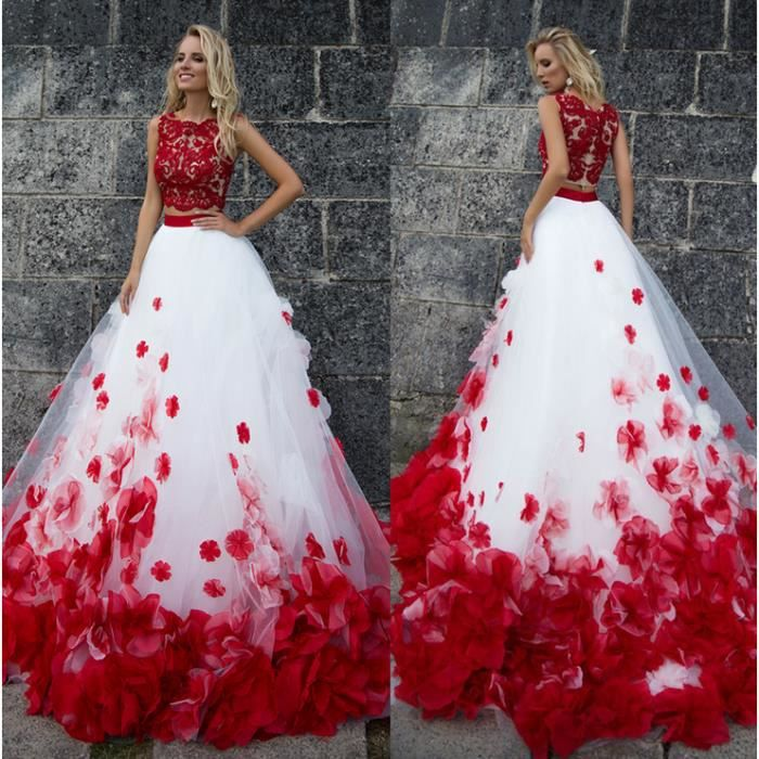 OFELI ® 3D Fleur Blanc Rouge Romantique Dentelle