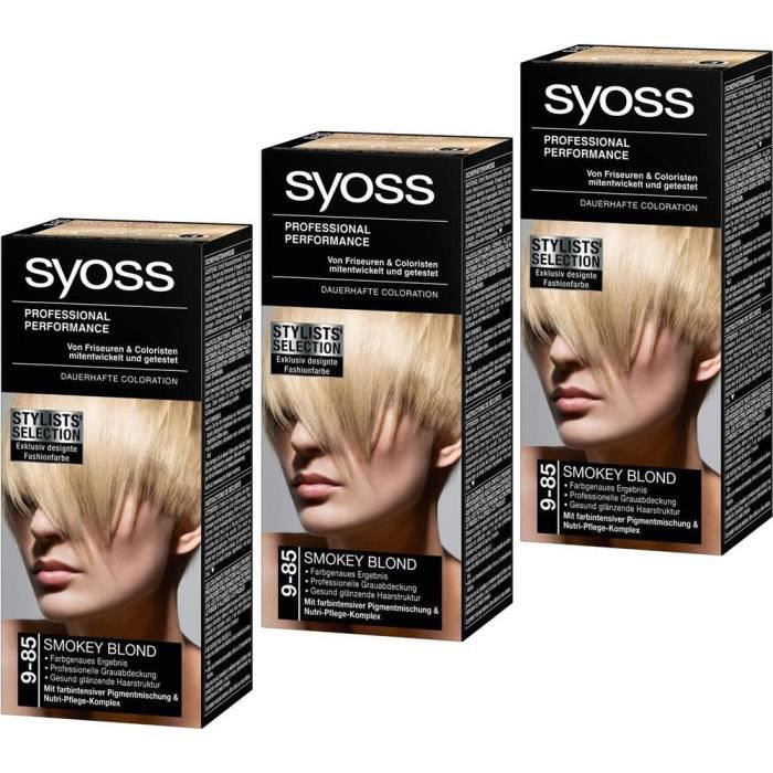 coloration syoss coloration 9 85 smokey blond lot de 3 ex - Coloration Syoss