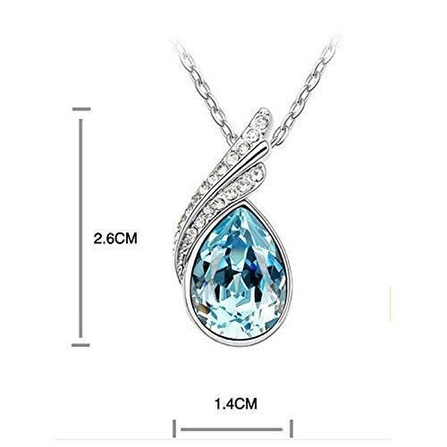 Womens Combo Ocean Blue Austrian Crystal Necklace Set For With Crystal Earrings VODJY