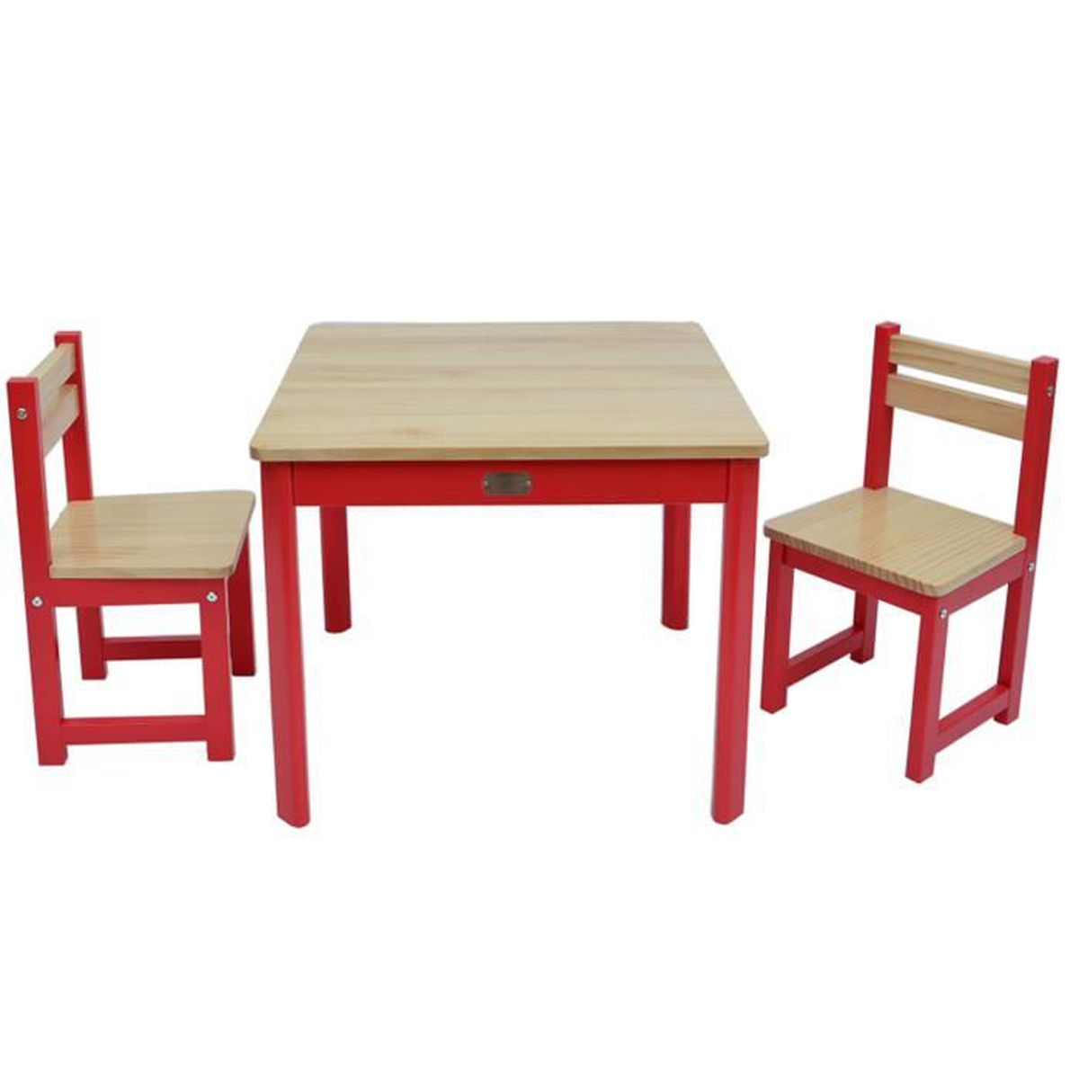 ensemble table et 2 chaises pour enfant en bois coloris rouge achat vente tour de lit b b. Black Bedroom Furniture Sets. Home Design Ideas
