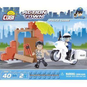 ASSEMBLAGE CONSTRUCTION Action Town - Police à moto - 40 pcs - 2 figurines