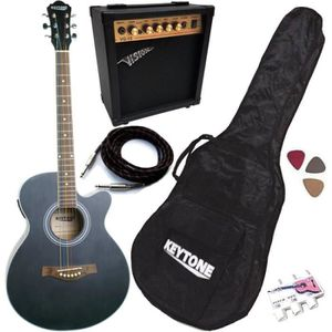PACK INSTRUMENTS CORDES Pack Guitare Électro-Acoustique Jumbo Noire Mat 5