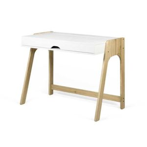 TABLE BASSE Bureau plateau relevable Blanc/Chêne massif - HONG