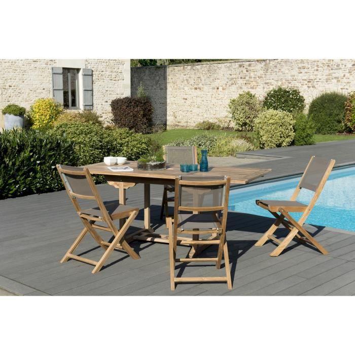 Ensemble de jardin en teck : 1 table rectangulaire 120 / 180 x 90 cm - 2 lots de 2 chaises pliantes en textilène, couleur taupe