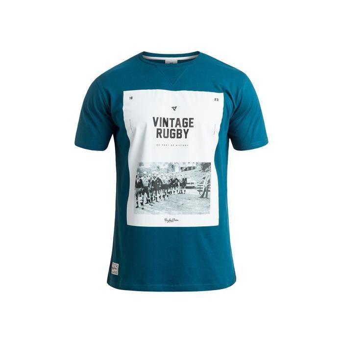 RUGBY DIVISION - Tee shirt manches courtes CAMBRIDGE bleu canard 100% coton
