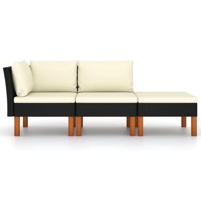 Salon de jardin 3pcs - Résine tressée et bois d'eucalyptus massif - 60,5 x 64,5 x 67 cm - noir - WXS - Qualité Parfaite