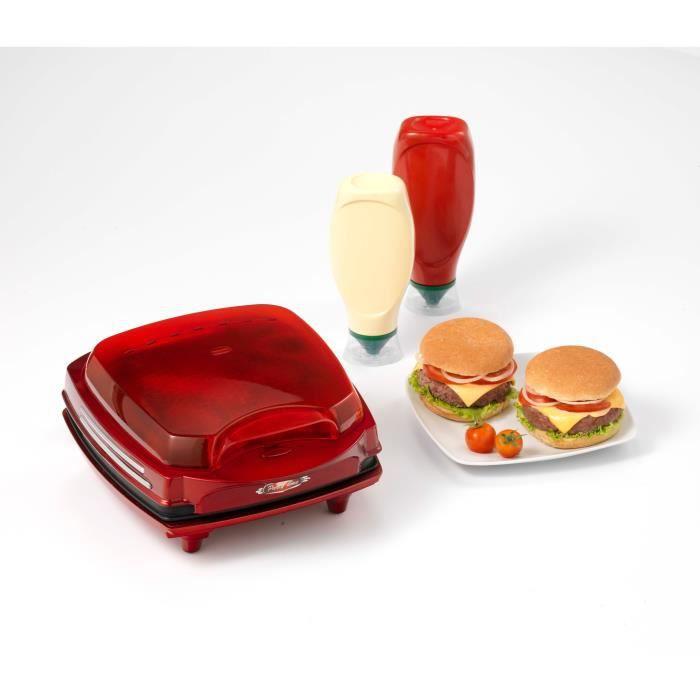 ARIETE 185 Appareil à Burger - 1400W - Rouge