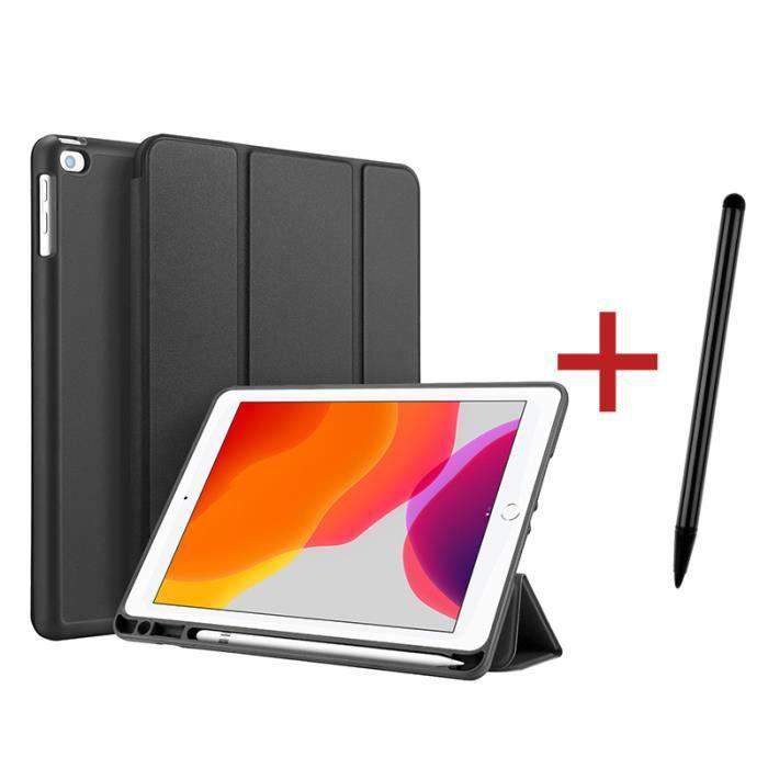 Étui iPad 8 10.2- 2020 [ +Stylet ] avec Support Fonction et Réveil/Sommeil Automatique Housse Coque iPad 8 10.2- 2020 - Noir