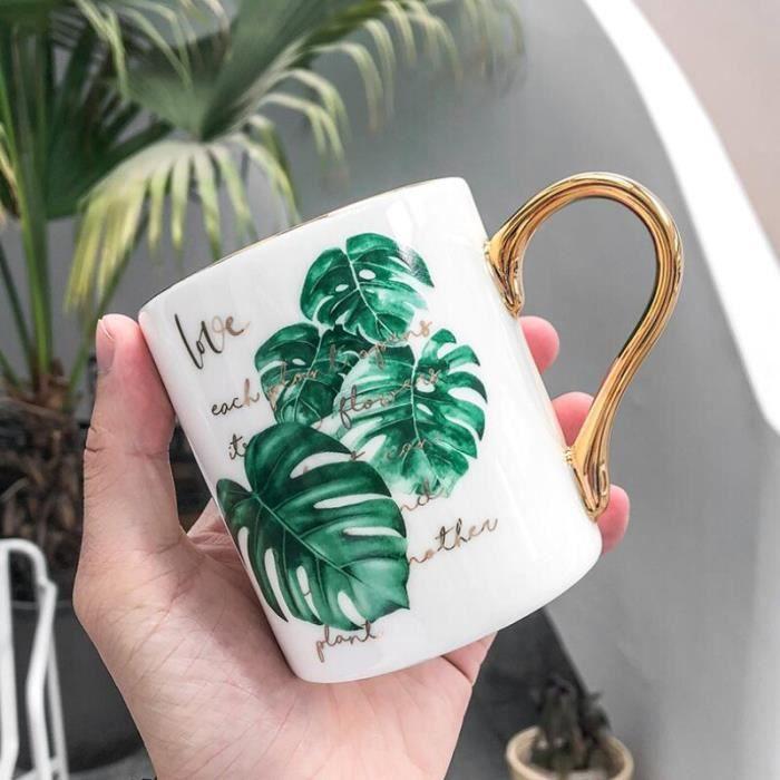 Noble poignée dorée Monstera motif tasses à café 400ML exquise tasse à lait en céramique tasse à thé boisson cadeau de - Type 1