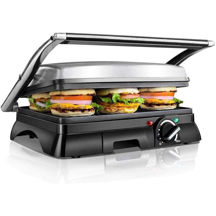 Aigostar Samson 30KLU - 2000W Appareil à croque monsieur, grill à sandwich et panini multifonctions. Très larges plaques antiadhésiv