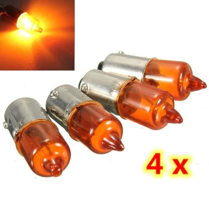 4Pcs 12V 23W BA9S Base Mini Clignotant Ampoule Lampe Halogène Ambre Moto Velo