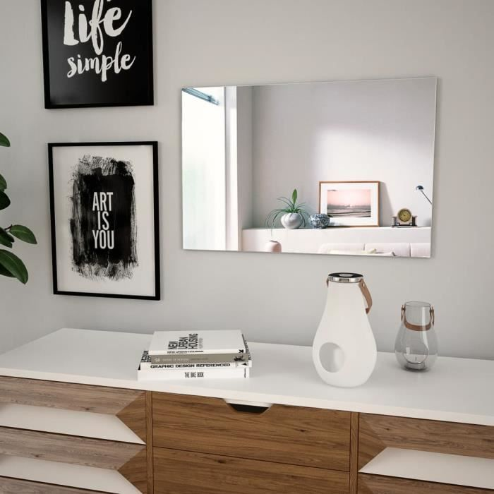 Fur-3330Miroir mural Design Joli Miroir Professionnel Décor Chambre Salon Miroir de Salle de Bains 60 x 40 cm Rectangulaire Verre