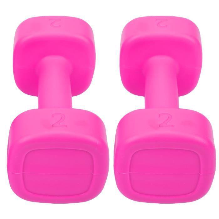 Fydun Petit haltère 2pcs Haltère 4lb Haltérophilie Fitness Équipement de Perte de Poids de Sport Yoga Musculation(Rose rouge )